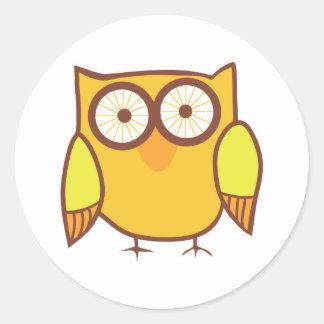Cute Yellow Owl Bird Classic Round Sticker