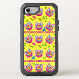 Cute Yellow Owls Pattern OtterBox Defender iPhone 7 Case