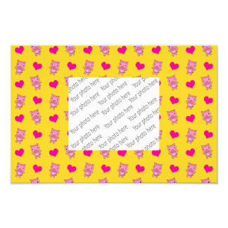 Cute yellow pig hearts pattern photographic print
