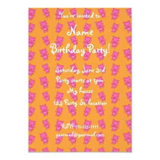 Cute yellow pig pattern 13 cm x 18 cm invitation card