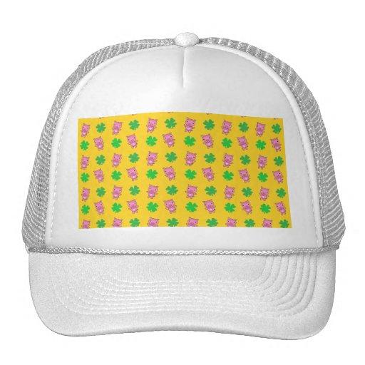 Cute yellow pig shamrocks pattern mesh hats