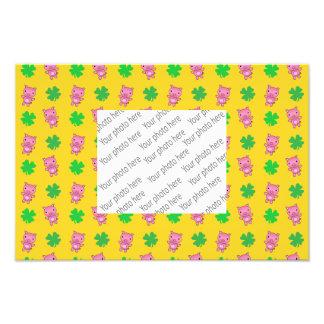 Cute yellow pig shamrocks pattern photo print