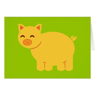 Cute Yellow Piggy Card