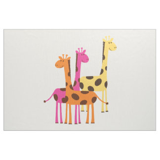 Cute Yellow, Pink and Orange Giraffes Fabric