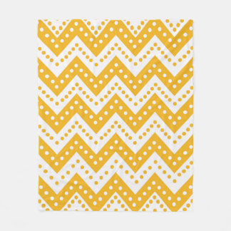 Cute Yellow Polkadot Zigzags Fleece Blanket