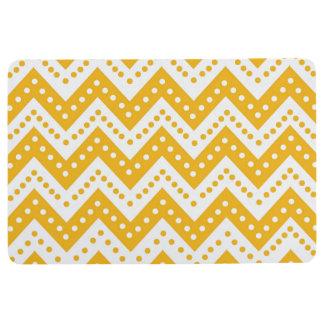 Cute Yellow Polkadot Zigzags Floor Mat