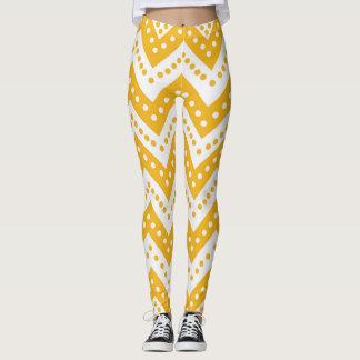 Cute Yellow Polkadot Zigzags Leggings