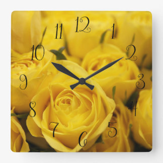 Cute Yellow Roses Wall Clock