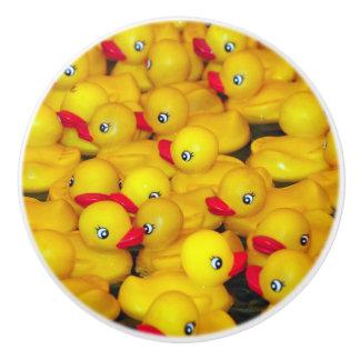 Cute yellow rubber duckies pattern ceramic knob