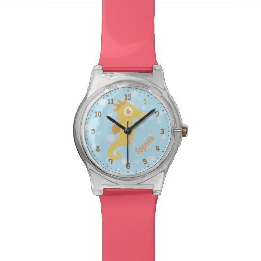 Cute Yellow Seahorse and Bubbles Kids Watch