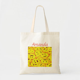 Cute Yellow Smiley Faces Add Your Name Tote Bag