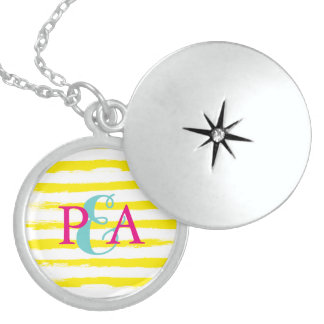 Cute Yellow STRIPES Couple Monograms Brushstrokes Round Locket Necklace