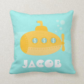 Cute Yellow Submarine, Underwater, For Toddlers Cushion