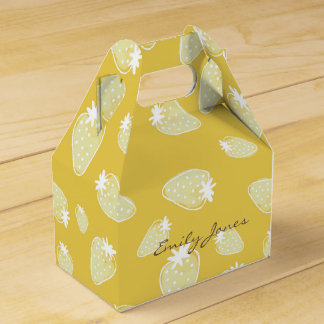 CUTE YELLOW WHITE WATERCOLOR STRAWBERRIES MONOGRAM FAVOUR BOX