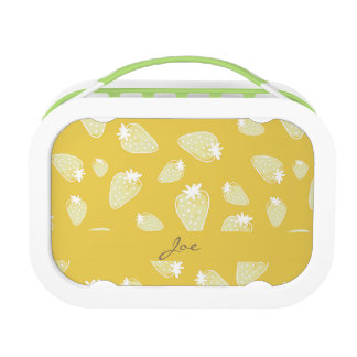 CUTE YELLOW WHITE WATERCOLOR STRAWBERRIES MONOGRAM LUNCHBOX