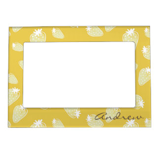CUTE YELLOW WHITE WATERCOLOR STRAWBERRIES MONOGRAM MAGNETIC FRAMES