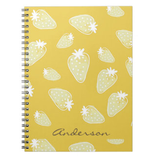 CUTE YELLOW WHITE WATERCOLOR STRAWBERRIES MONOGRAM NOTEBOOKS