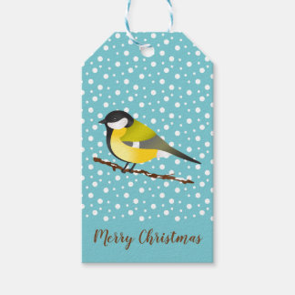 Cute Yellow Winter Bird On Blue Merry Christmas Gift Tags