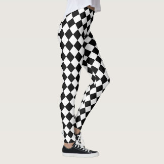 Cute Yoga Black and White Diamond Pattern Leggings