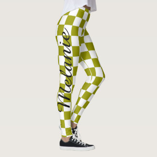 Cute Yoga Colourful Green and White Check Pattern Leggings