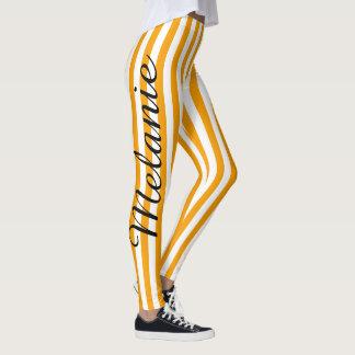 Cute Yoga Colourful Orange Stripe Pattern Leggings
