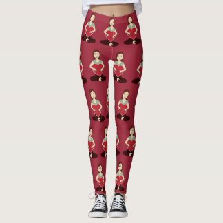 Cute Yoga Girl holding Red heart pattern Leggings