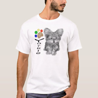 Cute Yorkie Dog and Paw Print Art Gifts T-Shirt