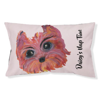 Cute Yorkie Pop Art Painting in Pink and Orange Pet Bed