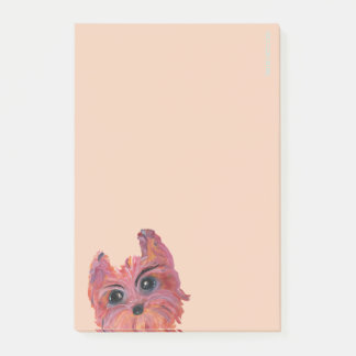 Cute Yorkie Pop Art Painting in Pink and Orange Post-it Notes