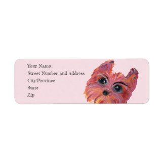 Cute Yorkie Pop Art Painting in Pink and Orange Return Address Label