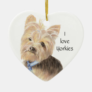 Cute Yorkie, Yorkshire Terrier, Dog, Pet Ceramic Ornament