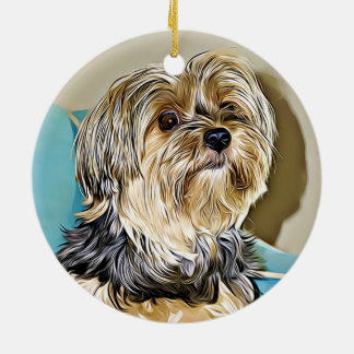 Cute yorkshire terrier digital art ceramic ornament