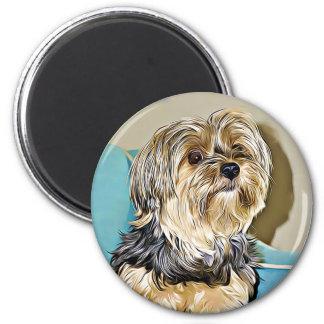 Cute yorkshire terrier digital art magnet