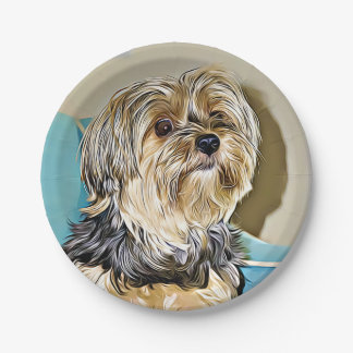 Cute yorkshire terrier digital art paper plate