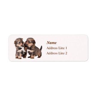 Cute Yorkshire Terrier Puppies Return Address Label