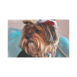 Cute Yorkshire Terrier Puppy Dog Oil Painting Canvas Print