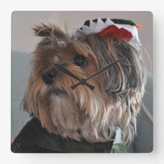 Cute Yorkshire Terrier Puppy Dog Square Wall Clock