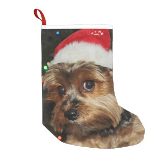 Cute Yorkshire Terrier with Santa Hat Small Christmas Stocking