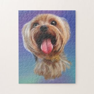 Cute Yorkshire terrier, yorkie, digital art Jigsaw Puzzle