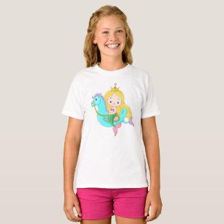 Cute Young Mermaid Riding Seahorse T-Shirt