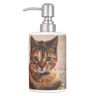 Cute Young Tabby Cat Kitten Kitty Pet Soap Dispenser And Toothbrush Holder