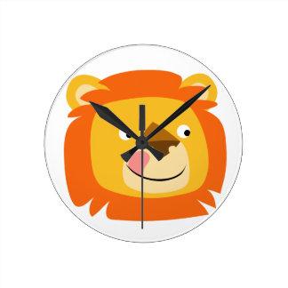 Cute Yummy Cartoon Lion Round Clock