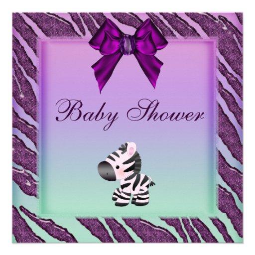 cute zebra animal print purple baby shower 13 cm x 13 cm square