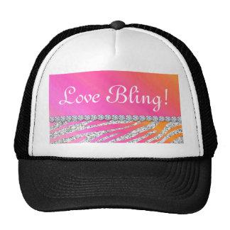 Cute Zebra Bling Glitter Orange Pink Gifts Hat