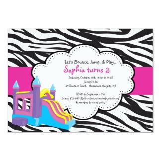 Cute Zebra Bounce House Party Invitation