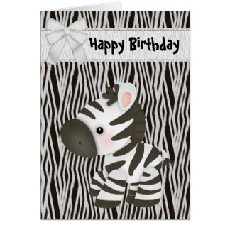 Cute Zebra & Cupcake (inside) Birthday Card