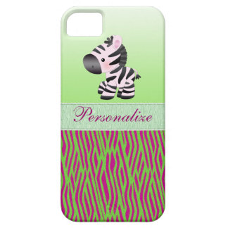 Cute Zebra Faux Green & Pink Texture Animal Print iPhone 5 Covers