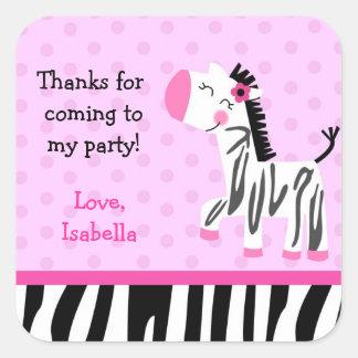 Cute Zebra favor stickers