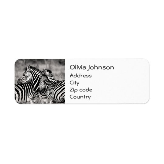 Cute Zebra Herd Nature Safari Black White Return Address Label