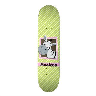 Cute Zebra; Lime Green & White Stripes Skate Board Decks